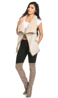 Draped Sleeveless Faux Fur Wool Vest in Tan
