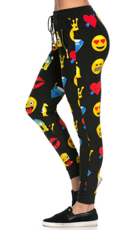 Comfy Emoji Print Jogger SweatPants in Black - SohoGirl.com