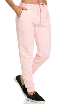 Classic Drawstring Jogger Pants in Blush (Plus Sizes Available)