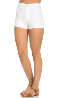 Solid High Waisted Shorts in White