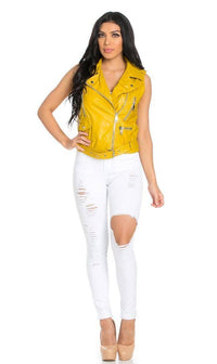 Zipped Faux Leather Moto Vest in Mustard