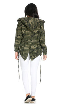 Draped Hooded Jacket in Camouflage - SohoGirl.com