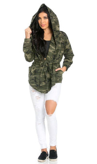 Draped Hooded Jacket in Camouflage