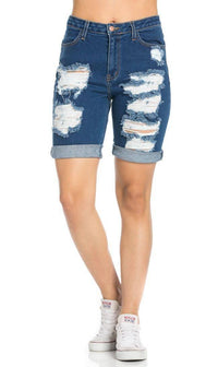 High Waisted Distressed Bermuda Shorts in Dark Blue - SohoGirl.com