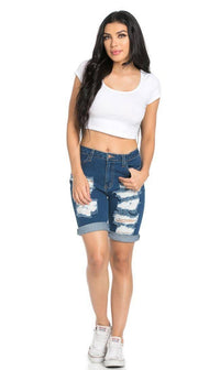 High Waisted Distressed Bermuda Shorts in Dark Blue