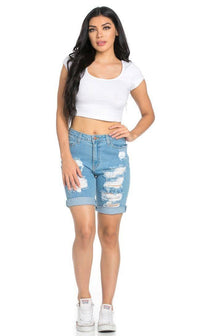 High Waisted Distressed Bermuda Shorts in Light Blue - SohoGirl.com