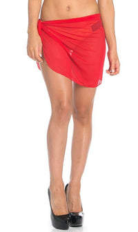 Short Sarong Mesh Cover Up in Red - SohoGirl.com
