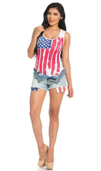 Sleeveless Tank American Flag Bodysuit in White (Plus Size Available)