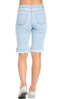 High Waisted Shredded Cut Off Bermuda Shorts in Light Blue (Plus Sizes Available)