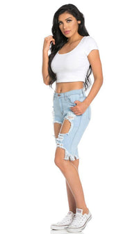 High Waisted Shredded Cut Off Bermuda Shorts in Light Blue (Plus Sizes Available) - SohoGirl.com