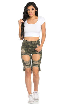 High Waisted Shredded Cut Off Bermuda Shorts in Camouflage
