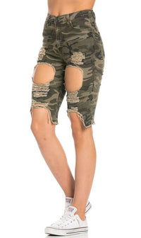 High Waisted Shredded Cut Off Bermuda Shorts in Camouflage - SohoGirl.com