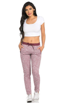 Faux Leather Detail Banded Drawstring Jogger Pants in Burgundy