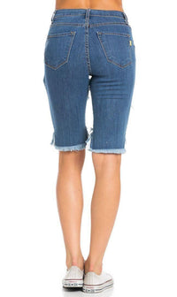 High Waisted Shredded Cut Off Bermuda Shorts in Dark Blue (Plus Sizes Available)