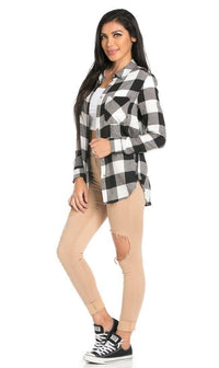 Classic Oversized Long Sleeve Flannel in Black