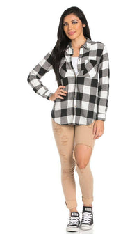 Classic Oversized Long Sleeve Flannel in Black - SohoGirl.com