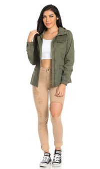 Cinch Cuff Utility Jacket in Olive (Plus Sizes Available)