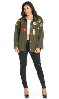 Oversized Patched and Distressed Denim Jacket in Olive (S-XL)