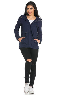 Plus Size Hooded Parka Coat in Navy Blue - SohoGirl.com