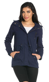 Plus Size Hooded Parka Coat in Navy Blue