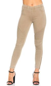 Ribbed Biker Ankle Zipped Jeggings in Khaki