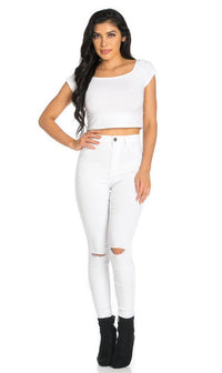 Super High Waisted Knee Slit Skinny Jeans in White