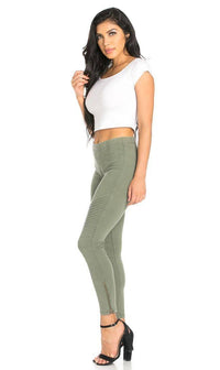Ribbed Biker Ankle Zipped Jeggings in Olive