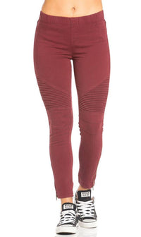 Ribbed Biker Ankle Zipped Jeggings in Burgundy