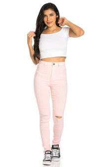 Super High Waisted Knee Slit Skinny Jeans in Light Pink - SohoGirl.com