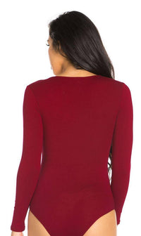 Long Sleeve V-neck Bodysuit in Burgundy
