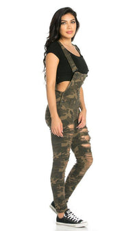 Ripped Skinny Leg Overalls in Camouflage (Plus Sizes Available) - SohoGirl.com