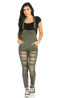 Ripped Skinny Leg Overalls in Olive - SohoGirl.com