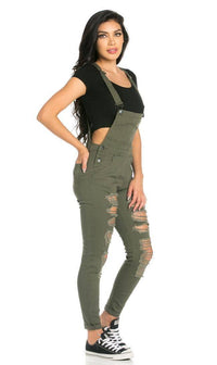 Ripped Skinny Leg Overalls in Olive