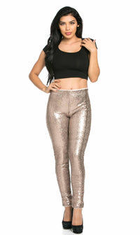 Gold Allover Sequin Party Pants (Plus Sizes Available) - SohoGirl.com