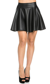High Waisted Faux Leather Skater Skirt in Black (S-XXXL)