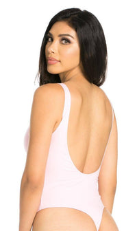 Basic Open Back Thong Bodysuit in Light Pink