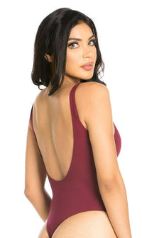 Basic Open Back Thong Bodysuit in Burgundy