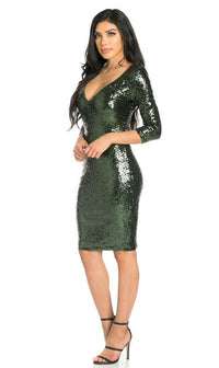 Plunging Sequin Midi Dress in Green