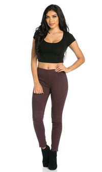 Ribbed Biker Ankle Zipped Jeggings in Wine - SohoGirl.com