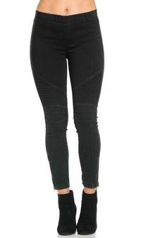 Ribbed Biker Ankle Zipped Jeggings in Black - SohoGirl.com