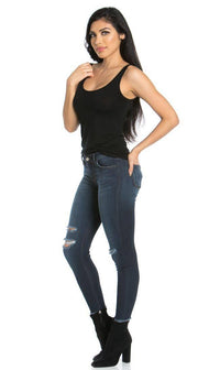 Distressed Ankle Skinny Jeans in Dark Blue (Plus Sizes Available)