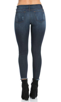 Distressed Ankle Skinny Jeans in Dark Blue (Plus Sizes Available) - SohoGirl.com