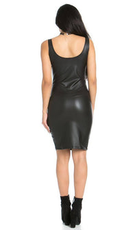 Sleeveless Faux Leather Bodycon Dress in Black - pallawashop.com