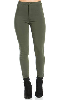 Super High Waisted Stretchy Skinny Jeans in Olive