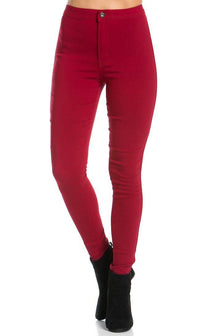 Super High Waisted Stretchy Skinny Jeans (S-XXXL) - Burgundy - SohoGirl.com