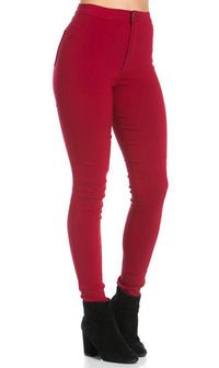 Super High Waisted Stretchy Skinny Jeans in Burgundy (S-XXXL)