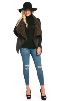 Draped Sleeveless Faux Fur Wool Vest in Olive