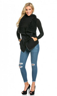Draped Sleeveless Faux Fur Wool Vest in Black