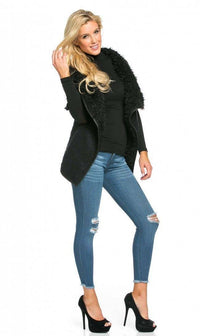 Draped Sleeveless Faux Fur Wool Vest in Black - SohoGirl.com