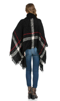 Jumbo Plaid Cowl-neck Poncho Sweater in Black